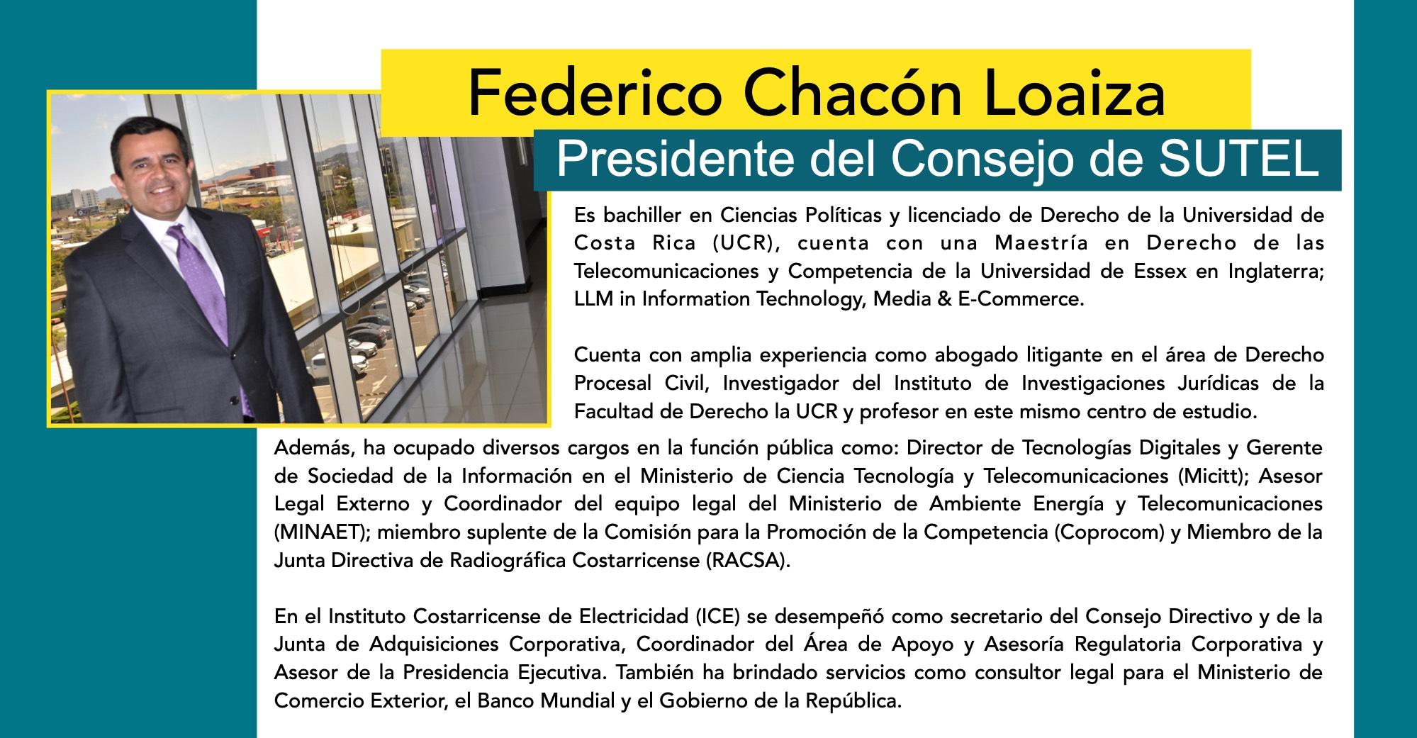 Federico Chacón, presidente del Consejo de SUTEL