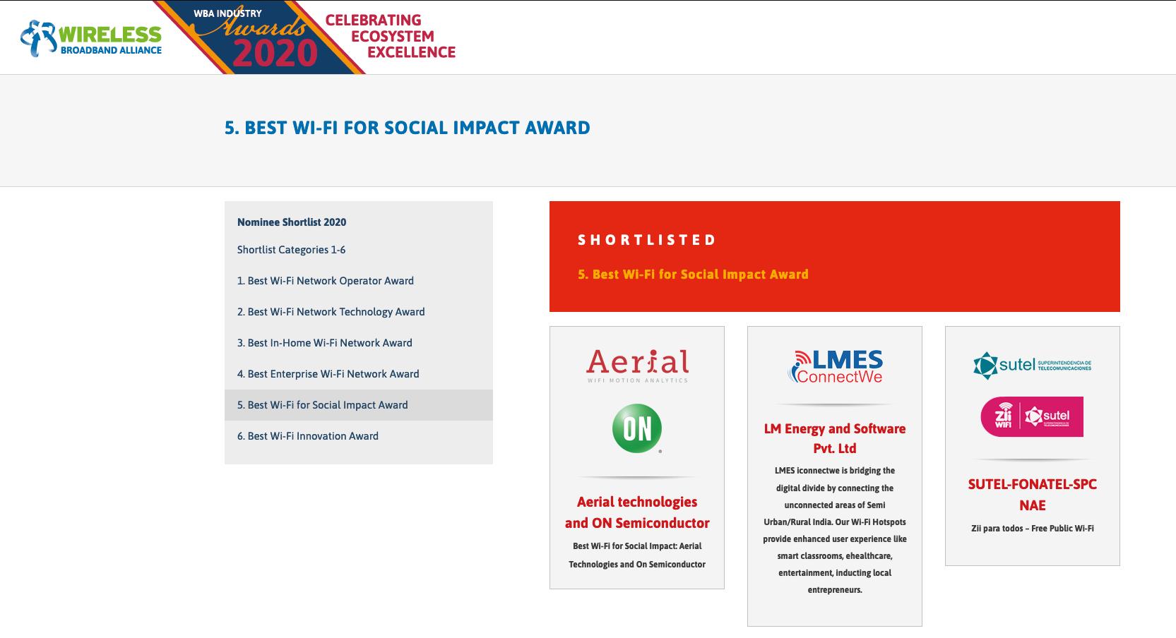 Fotografía página web con nominación a premio