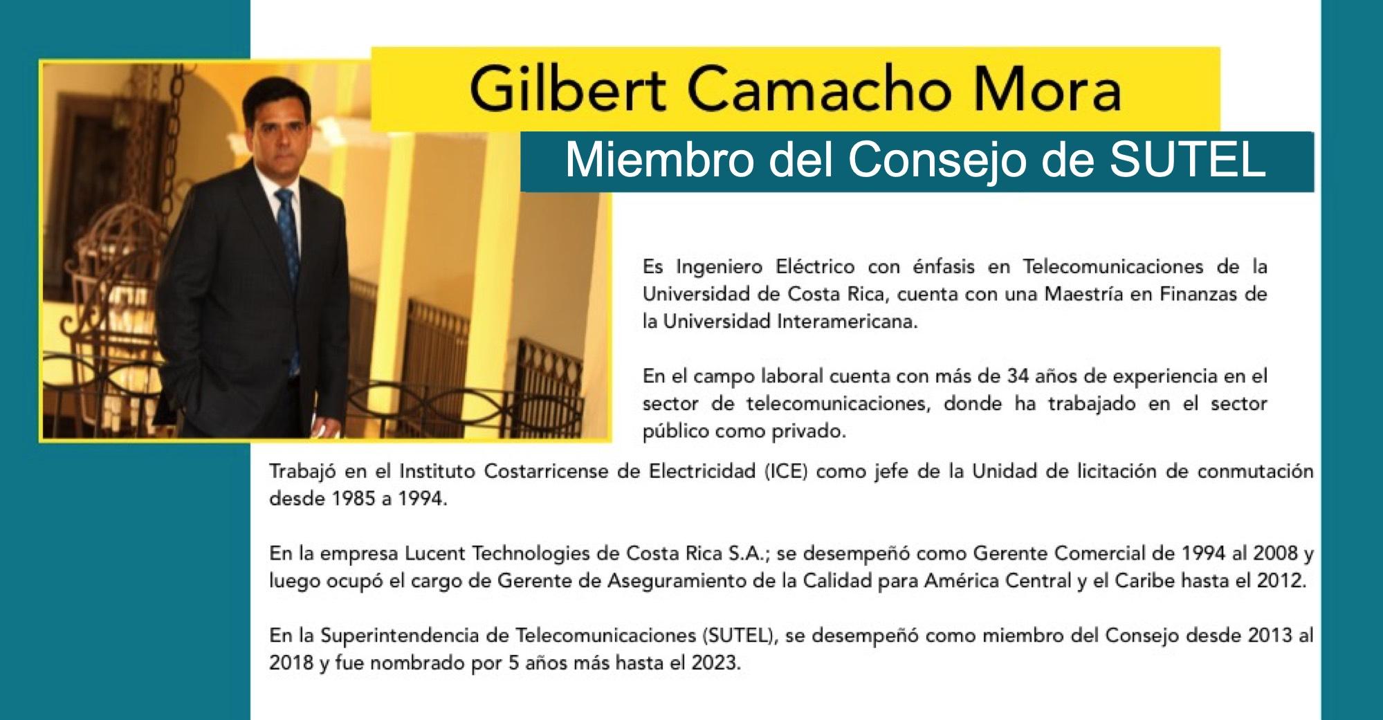 Gilbert Camacho, miembro del Consejo de SUTEL