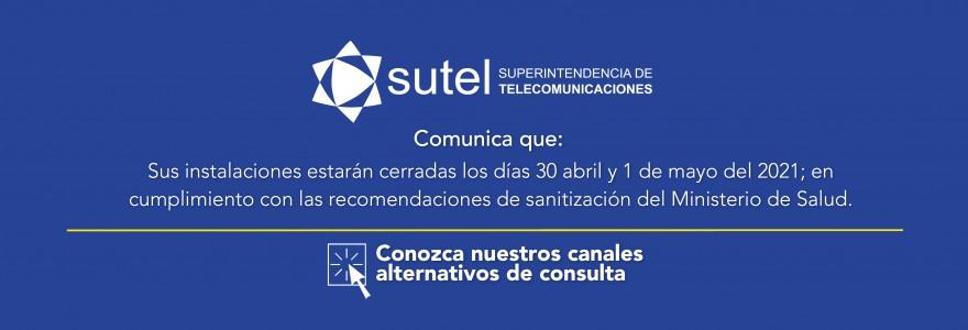 Banner cierre de SUTEL 30 abril por sanitización de edificio