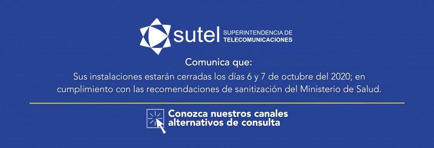 Banner instalaciones de SUTEL cerradas  por sanitización
